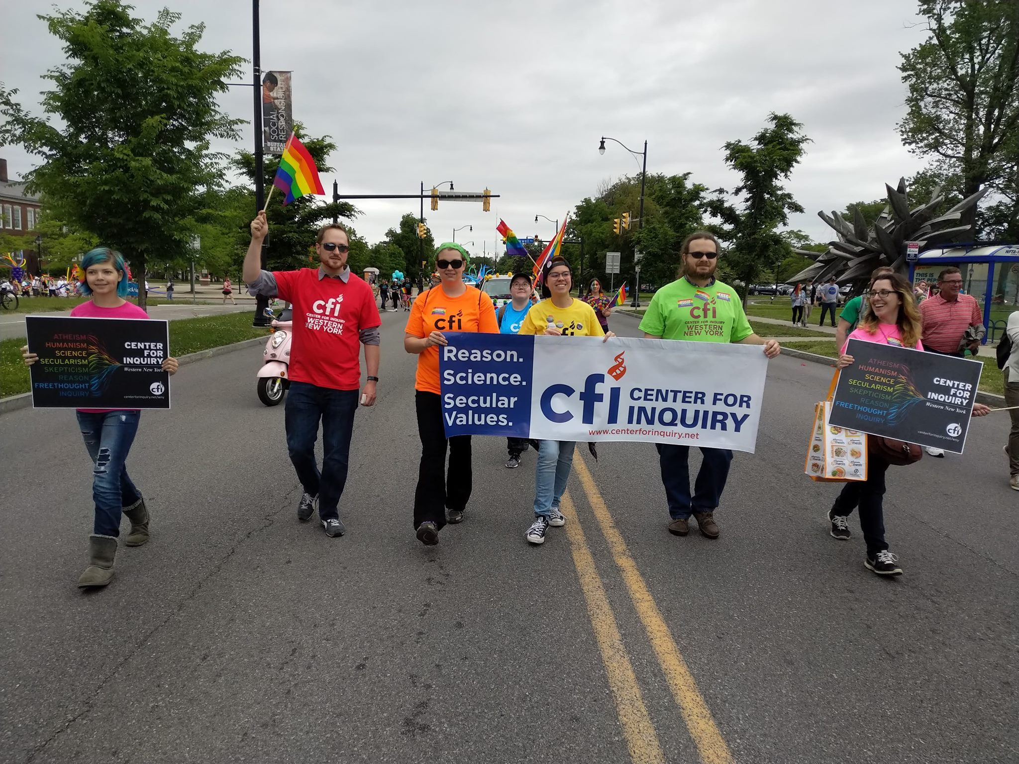 CFI WNY volunteers marching in the 2018 Buffalo Pride Parade